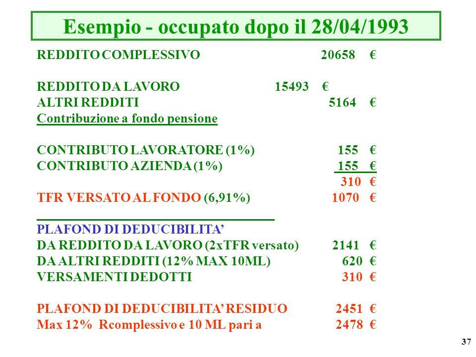 37 Esempio - occupato dopo il 28/04/1993 REDDITO COMPLESSIVO 20658 REDDITO DA LAVORO15493 ALTRI REDDITI 5164 Contribuzione a fondo pensione CONTRIBUTO LAVORATORE (1%) 155 CONTRIBUTO AZIENDA (1%) 155 310 TFR VERSATO AL FONDO (6,91%) 1070 PLAFOND DI DEDUCIBILITA DA REDDITO DA LAVORO (2xTFR versato) 2141 DA ALTRI REDDITI (12% MAX 10ML) 620 VERSAMENTI DEDOTTI 310 PLAFOND DI DEDUCIBILITA RESIDUO 2451 Max 12% Rcomplessivo e 10 ML pari a 2478