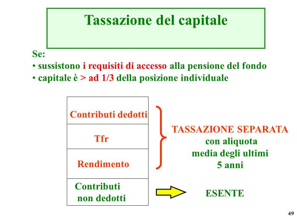 49 Tassazione del capitale Contributi dedotti Tfr Rendimento Contributi non dedotti ESENTE TASSAZIONE SEPARATA con aliquota media degli ultimi 5 anni
