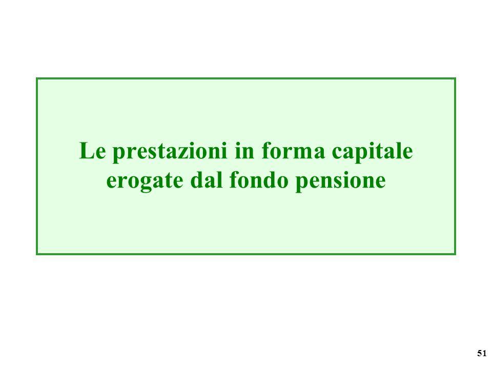 51 Le prestazioni in forma capitale erogate dal fondo pensione