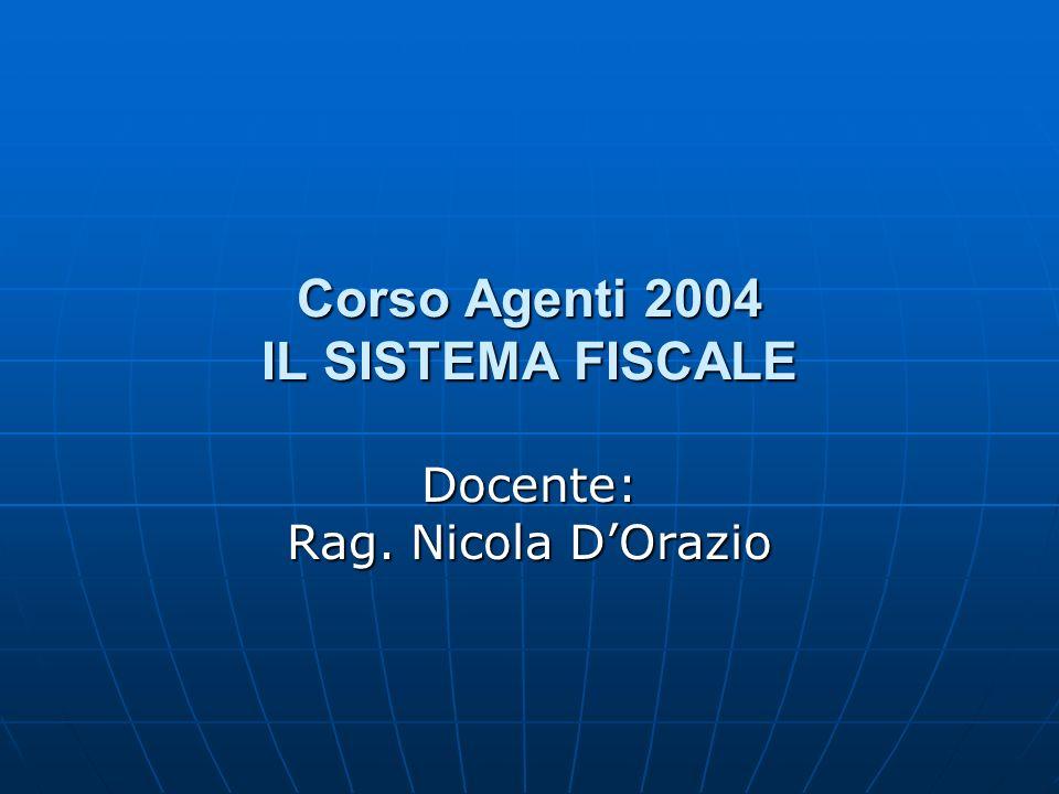 Corso Agenti 2004 IL SISTEMA FISCALE Docente: Rag. Nicola DOrazio