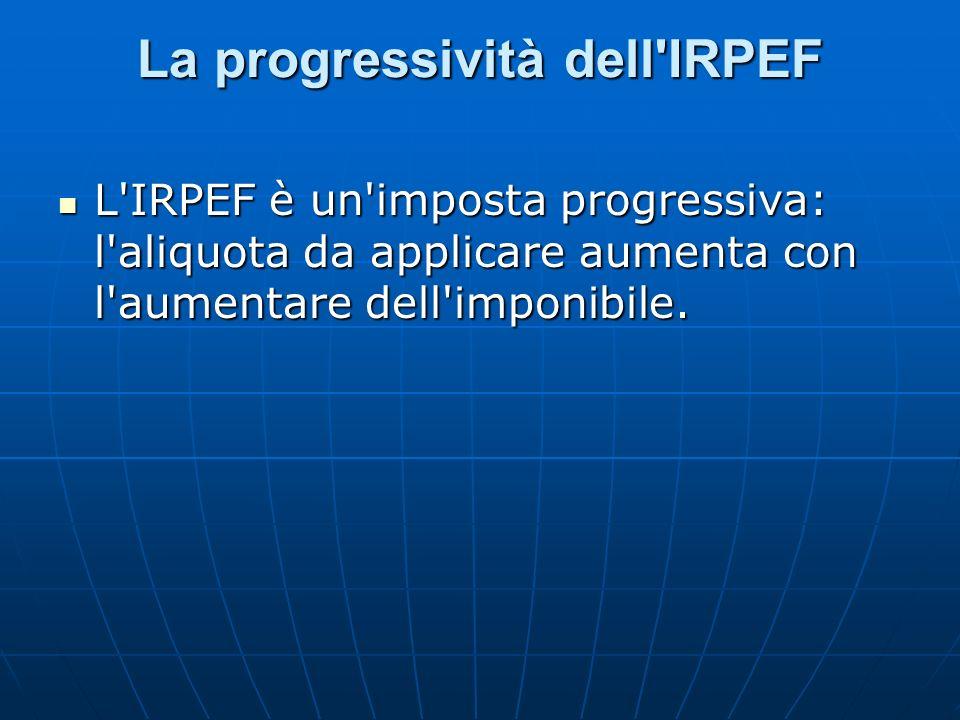 La progressività dell'IRPEF L'IRPEF è un'imposta progressiva: l'aliquota da applicare aumenta con l'aumentare dell'imponibile. L'IRPEF è un'imposta pr