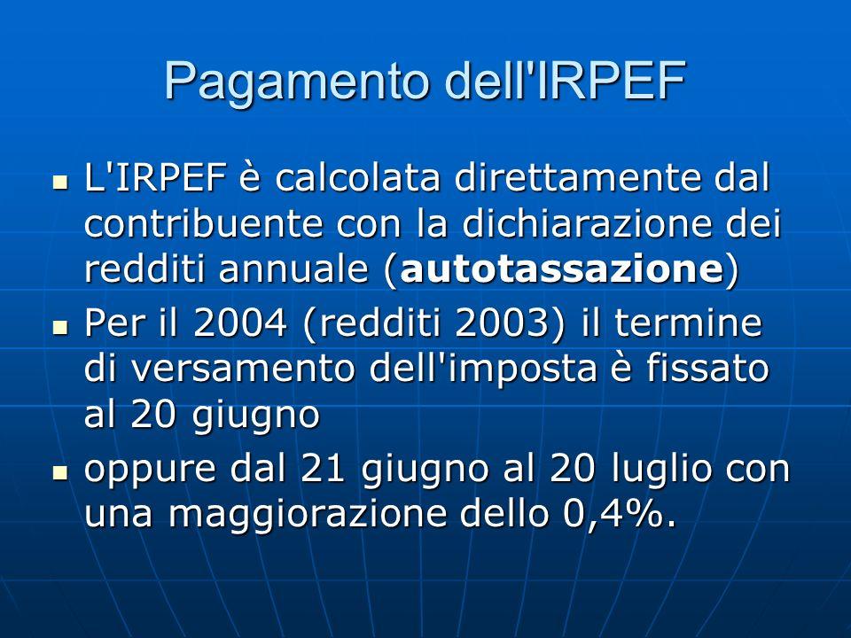 Pagamento dell'IRPEF L'IRPEF è calcolata direttamente dal contribuente con la dichiarazione dei redditi annuale (autotassazione) L'IRPEF è calcolata d