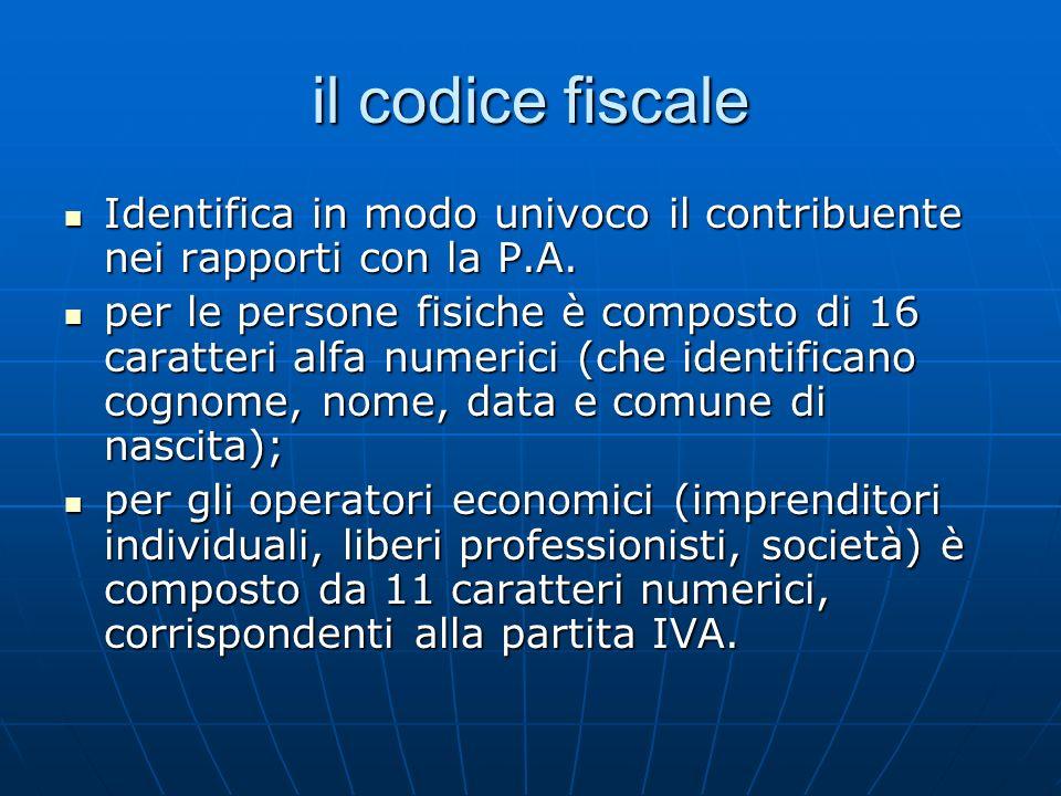 il codice fiscale Identifica in modo univoco il contribuente nei rapporti con la P.A. Identifica in modo univoco il contribuente nei rapporti con la P