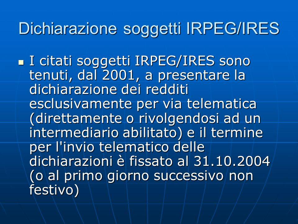 Dichiarazione soggetti IRPEG/IRES I citati soggetti IRPEG/IRES sono tenuti, dal 2001, a presentare la dichiarazione dei redditi esclusivamente per via