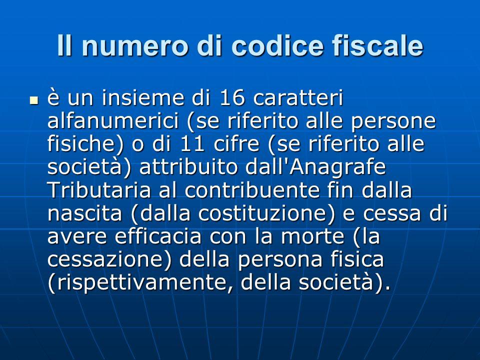 Il numero di codice fiscale è un insieme di 16 caratteri alfanumerici (se riferito alle persone fisiche) o di 11 cifre (se riferito alle società) attr