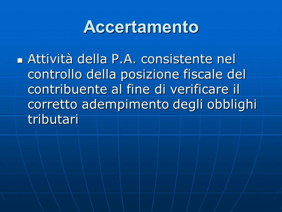 Accertamento Attività della P.A. consistente nel controllo della posizione fiscale del contribuente al fine di verificare il corretto adempimento degl