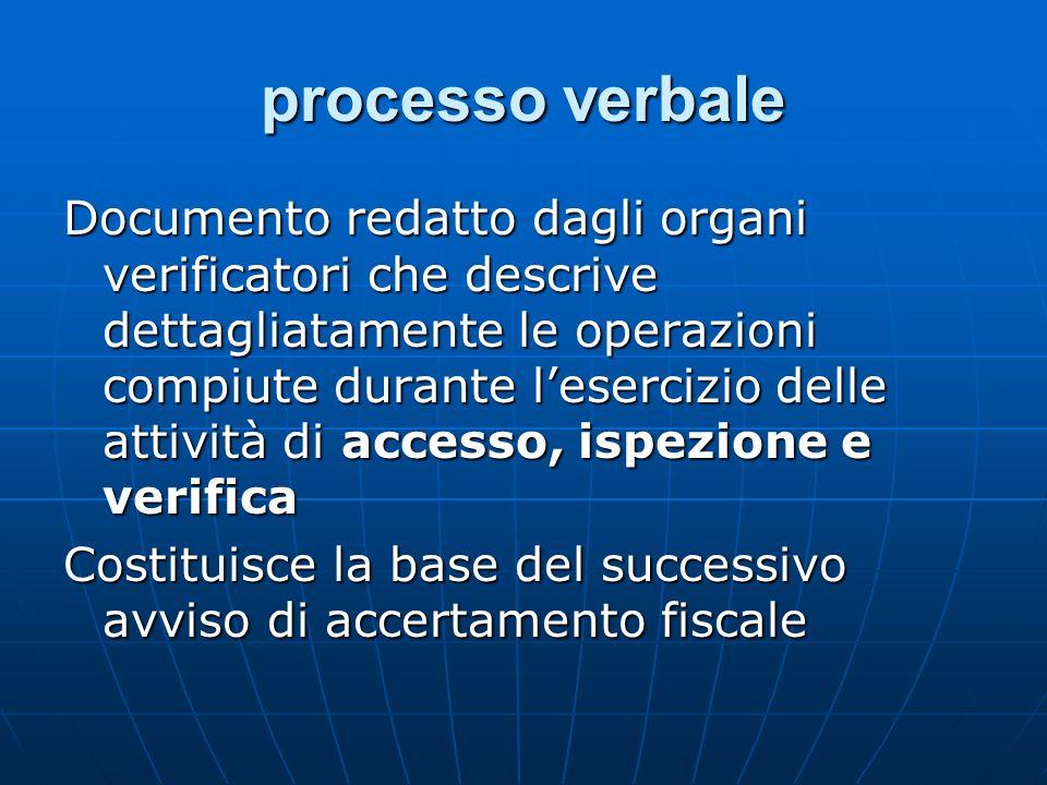 processo verbale Documento redatto dagli organi verificatori che descrive dettagliatamente le operazioni compiute durante lesercizio delle attività di