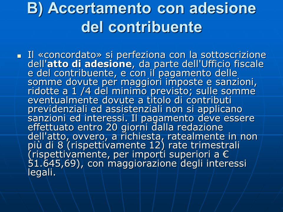 B) Accertamento con adesione del contribuente Il «concordato» si perfeziona con la sottoscrizione dell'atto di adesione, da parte dell'Ufficio fiscale