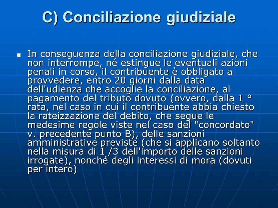 C) Conciliazione giudiziale In conseguenza della conciliazione giudiziale, che non interrompe, né estingue le eventuali azioni penali in corso, il con