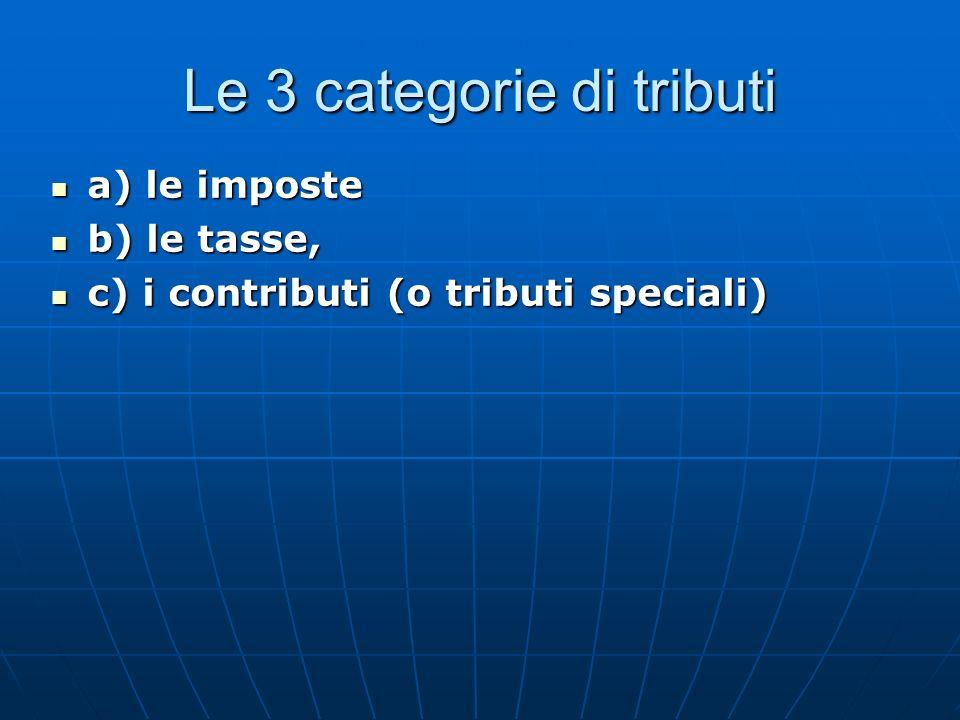 Le 3 categorie di tributi a) le imposte a) le imposte b) le tasse, b) le tasse, c) i contributi (o tributi speciali) c) i contributi (o tributi speciali)