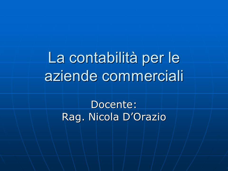 La contabilità per le aziende commerciali Docente: Rag. Nicola DOrazio