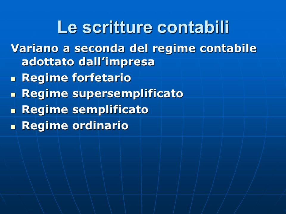 Le scritture contabili Variano a seconda del regime contabile adottato dallimpresa Regime forfetario Regime forfetario Regime supersemplificato Regime