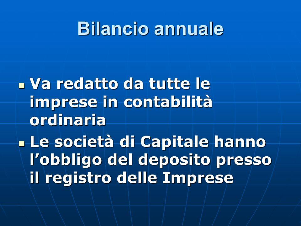 Bilancio annuale Va redatto da tutte le imprese in contabilità ordinaria Va redatto da tutte le imprese in contabilità ordinaria Le società di Capital