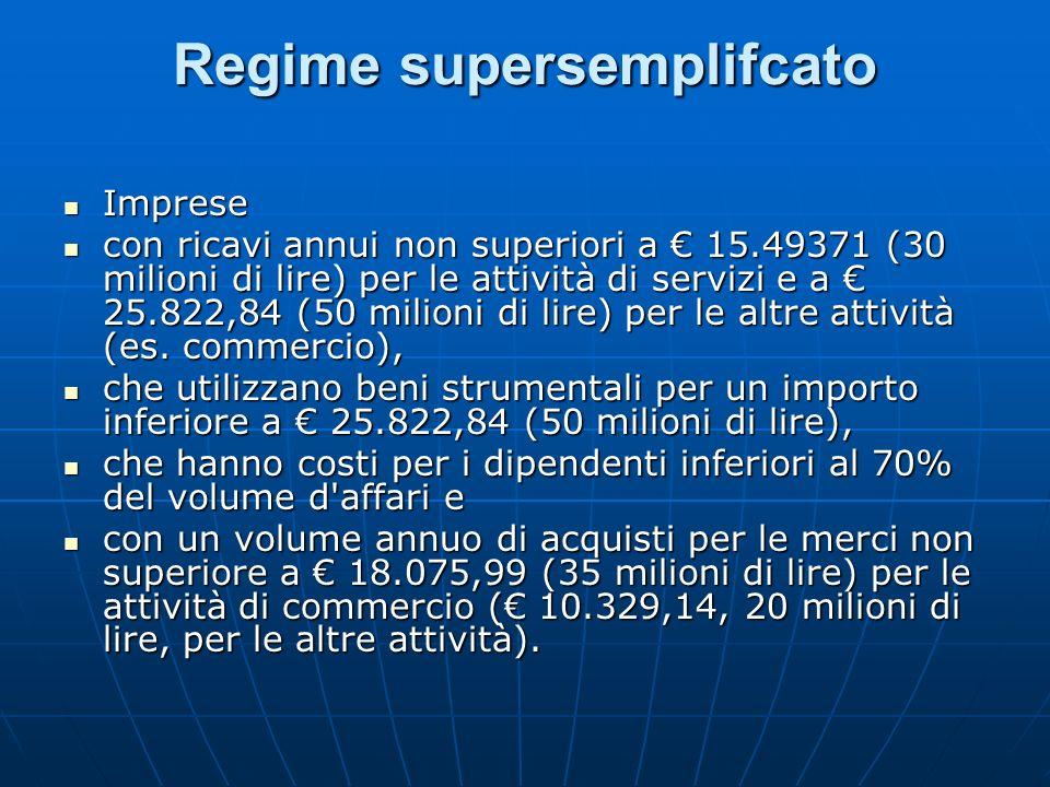 Regime semplificato Imprese con Imprese con ricavi annui non superiori a 309.874,14 (600 milioni di lire) per le attività di prestazione di servizi oppure a 516.456,90 (1 miliardo di lire) per le altre attività (es.