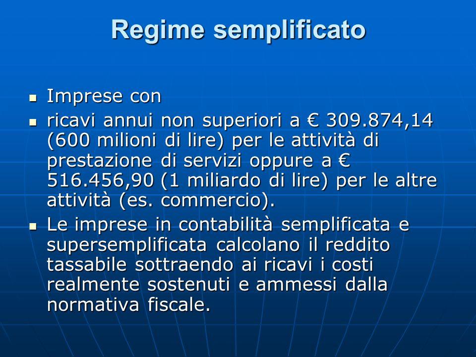 Regime semplificato Imprese con Imprese con ricavi annui non superiori a 309.874,14 (600 milioni di lire) per le attività di prestazione di servizi op