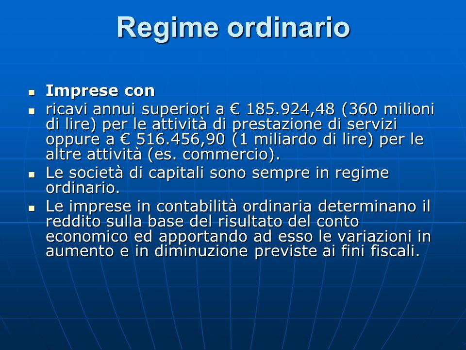 Regime ordinario Imprese con Imprese con ricavi annui superiori a 185.924,48 (360 milioni di lire) per le attività di prestazione di servizi oppure a