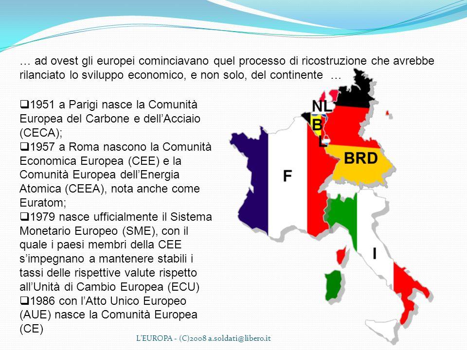 L'EUROPA - (C)2008 a.soldati@libero.it … ad ovest gli europei cominciavano quel processo di ricostruzione che avrebbe rilanciato lo sviluppo economico