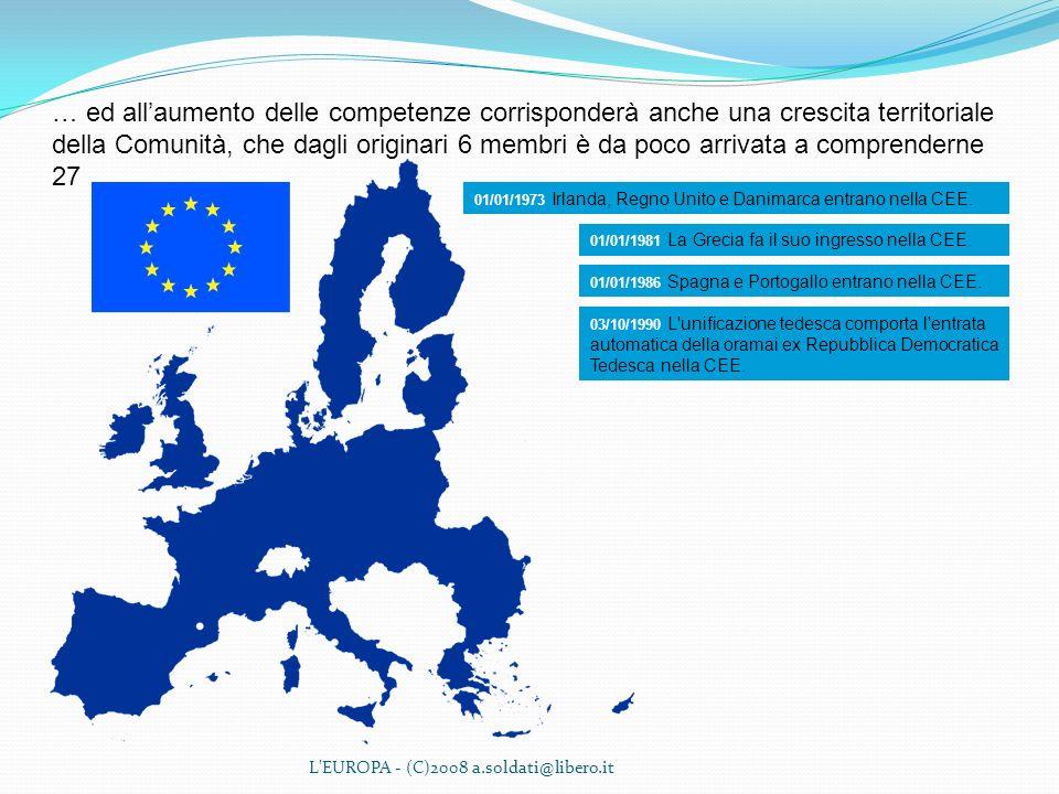 L'EUROPA - (C)2008 a.soldati@libero.it … ed allaumento delle competenze corrisponderà anche una crescita territoriale della Comunità, che dagli origin