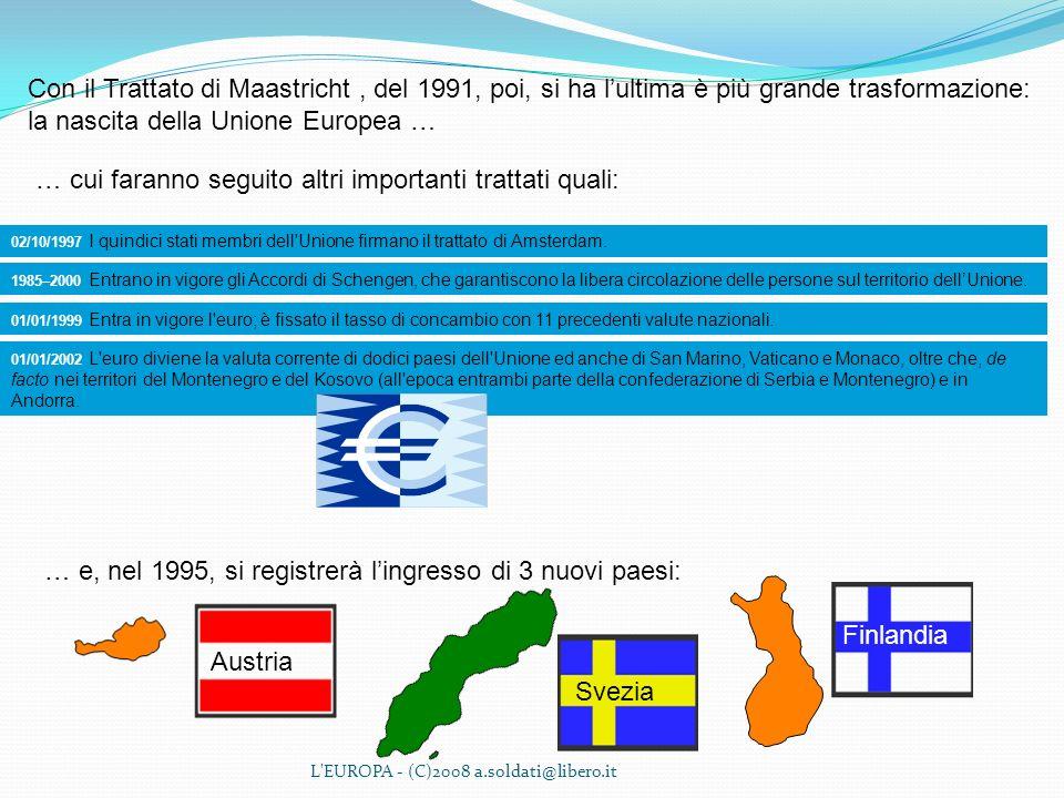 L'EUROPA - (C)2008 a.soldati@libero.it Con il Trattato di Maastricht, del 1991, poi, si ha lultima è più grande trasformazione: la nascita della Union