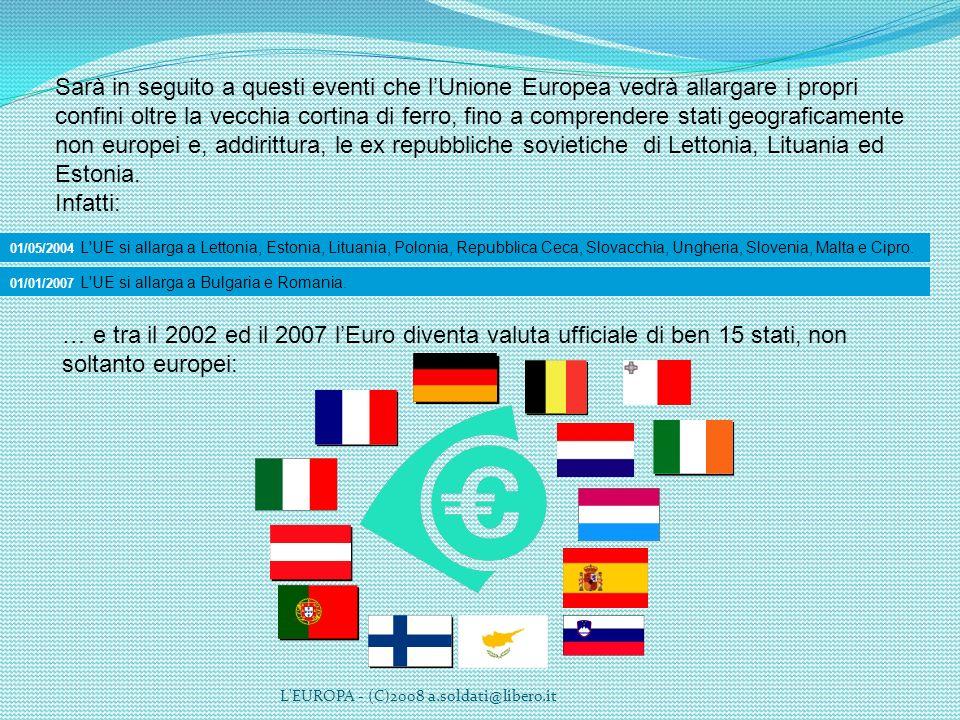 L'EUROPA - (C)2008 a.soldati@libero.it Sarà in seguito a questi eventi che lUnione Europea vedrà allargare i propri confini oltre la vecchia cortina d