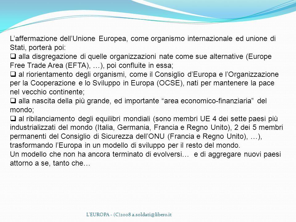 L'EUROPA - (C)2008 a.soldati@libero.it Laffermazione dellUnione Europea, come organismo internazionale ed unione di Stati, porterà poi: alla disgregaz