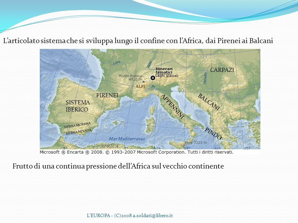 L'EUROPA - (C)2008 a.soldati@libero.it Larticolato sistema che si sviluppa lungo il confine con lAfrica, dai Pirenei ai Balcani Frutto di una continua