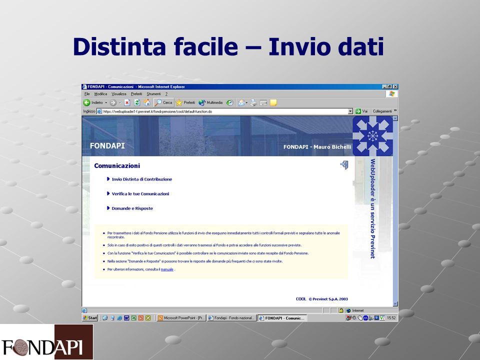 Distinta facile – Invio dati