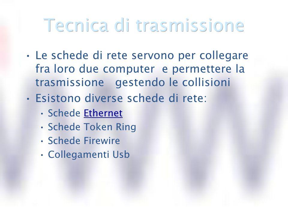 TOPOLOGIA : come sono collegati fra loro i dispositivi MEZZO TRASMISSIVO : mezzi attraverso cui viaggiano i segnali da un computer allaltro Via cavo Via etere TECNICA DI TRASMISSIONE : modo con cui si evita la collisione dei dati Carrier delle reti Ethernet Token delle reti Token ring