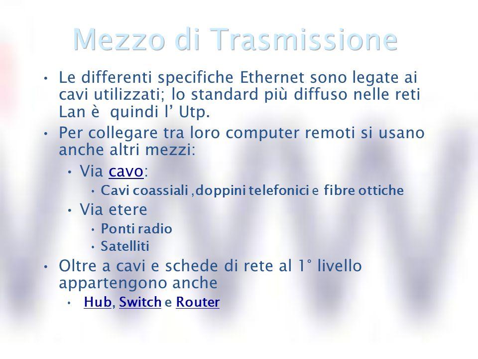 Le differenti specifiche Ethernet sono legate ai cavi utilizzati; lo standard più diffuso nelle reti Lan è quindi l Utp.