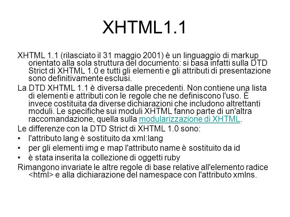Il namespace L elemento può assumere questi attributi: –Dir: determina la direzione del testo –Lang: specifica il linguaggio di base dell elemento quando è interpretato come HTML –xml:lang specifica il linguaggio di base dell elemento quando è interpretato come XML –Xmlns: specifica il namespace predefinito per XHTML –L unico attributo con valore obbligatorio è xmlns: http://www.w3.org/1999/xhtml .