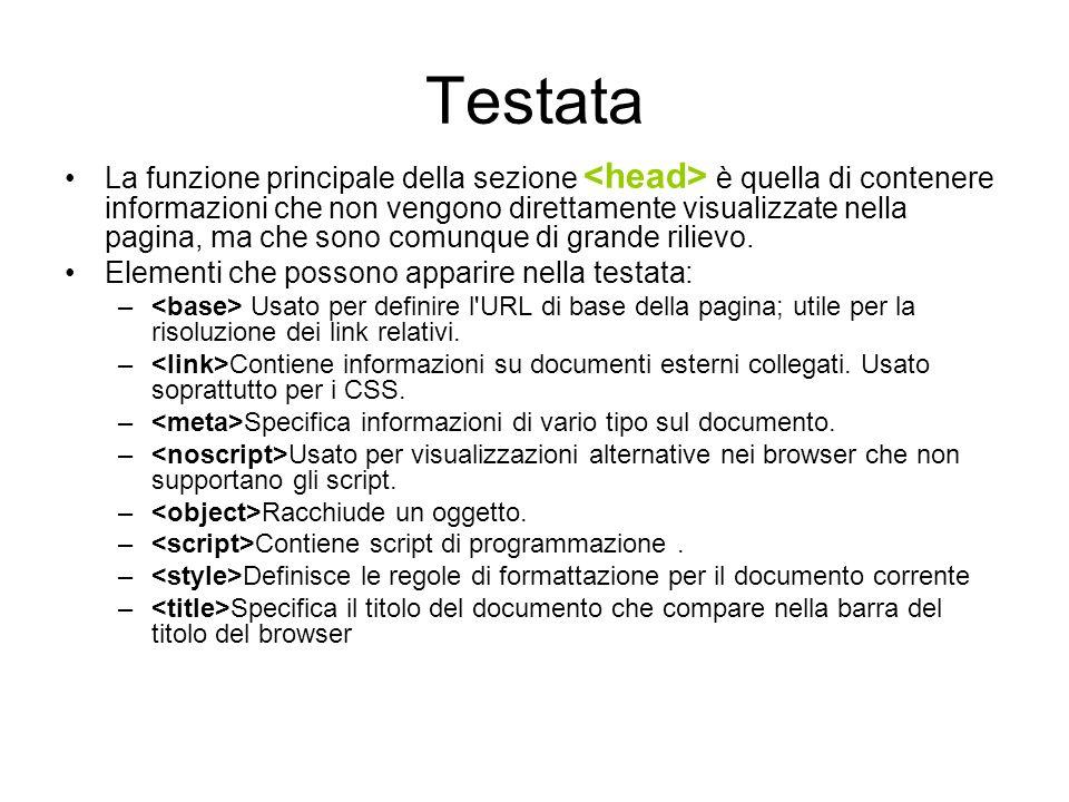 Corpo del documento Il documento è compreso (come in HTML) fra di apertura e di chiusura.