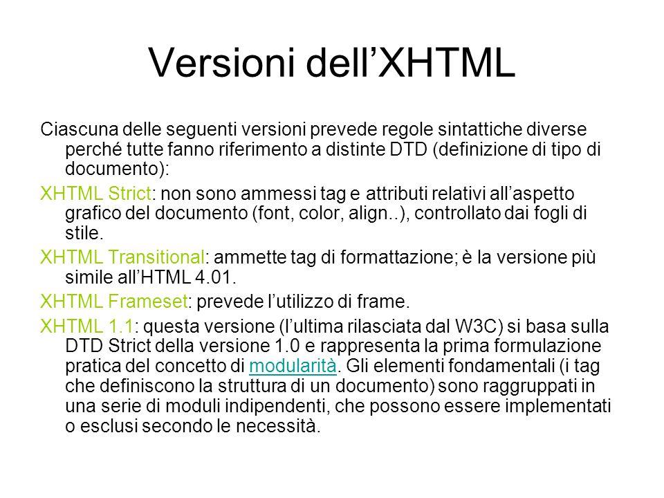 Validazione Un documento XHTML deve essere convalidato rispetto ad una delle tre DTD.