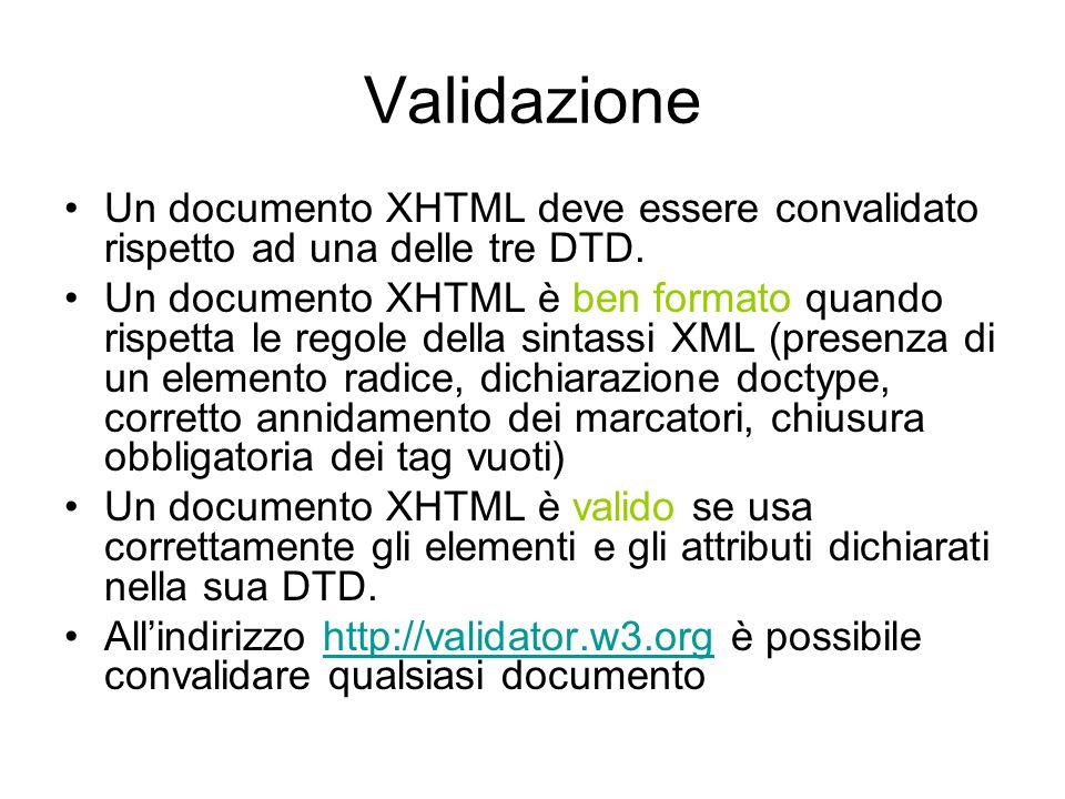 Intestazione In un documento XHTML l elemento radice deve essere.
