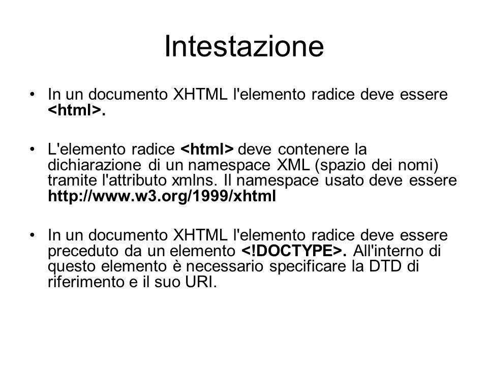 Dichiarare la DTD DTD Strict DTD Transitional DTD Frameset DTD XHTML1.1 <!DOCTYPE html PUBLIC -//W3C//DTD XHTML 1.1//EN http://www.w3.org/TR/xhtml11/DTD/xhtml11.dtd > la parola chiave PUBLIC significa che la DTD è pubblica, creata dal W3C; lurl indica che la DTD è collocata sul sito del W3C.