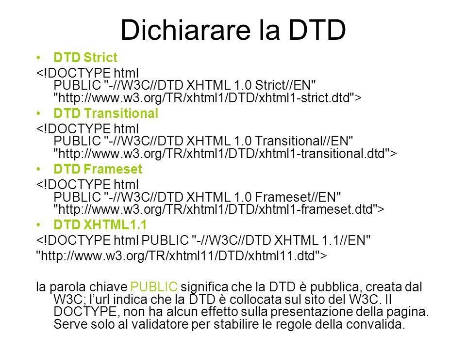Esempio doctype elemento radice La mia pagina XHTML dichiaro la codifica dei caratteri Il ritorno al futuro del web LXHTML sostituisce lHTML