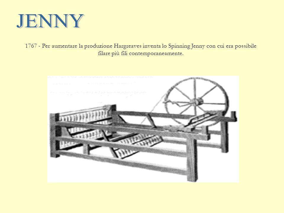 1769 - Arxwright costruisce il filatoio idraulico: water-frame La macchina di Arkwright consisteva in un telaio verticale, alla sommità del quale erano sistemate quattro bobine con il cotone.