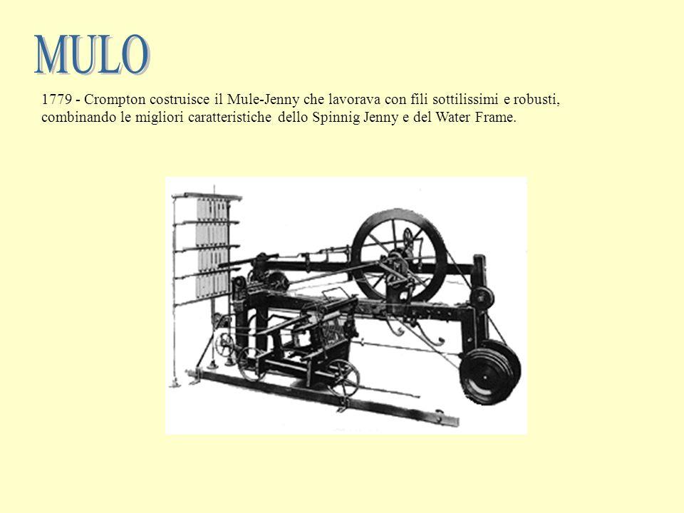 1779 - Crompton costruisce il Mule-Jenny che lavorava con fili sottilissimi e robusti, combinando le migliori caratteristiche dello Spinnig Jenny e de