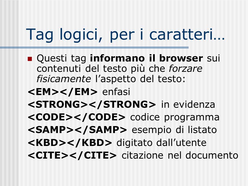 Tag logici, per i caratteri… Questi tag informano il browser sui contenuti del testo più che forzare fisicamente laspetto del testo: enfasi in evidenz