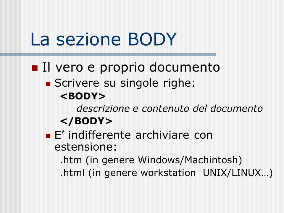 La sezione BODY Il vero e proprio documento Scrivere su singole righe: descrizione e contenuto del documento E indifferente archiviare con estensione: