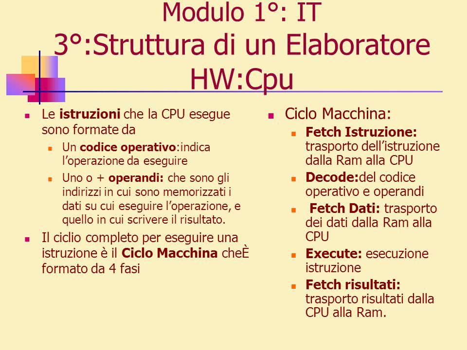 Modulo 1°: IT 3°:Struttura di un Elaboratore HW:Cpu Le istruzioni che la CPU esegue sono formate da Un codice operativo:indica loperazione da eseguire