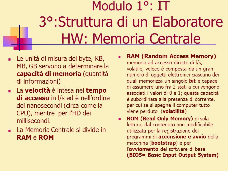 Modulo 1°: IT 3°:Struttura di un Elaboratore HW: Memoria Centrale Le unità di misura del byte, KB, MB, GB servono a determinare la capacità di memoria