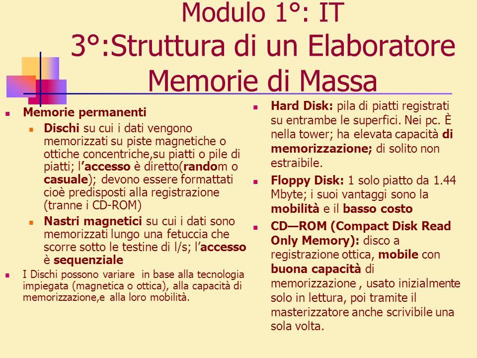 Modulo 1°: IT 3°:Struttura di un Elaboratore Memorie di Massa Memorie permanenti Dischi su cui i dati vengono memorizzati su piste magnetiche o ottich