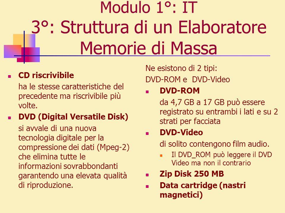 Modulo 1°: IT 3°: Struttura di un Elaboratore Memorie di Massa CD riscrivibile ha le stesse carat t eristiche del precedente ma riscrivibile più volte