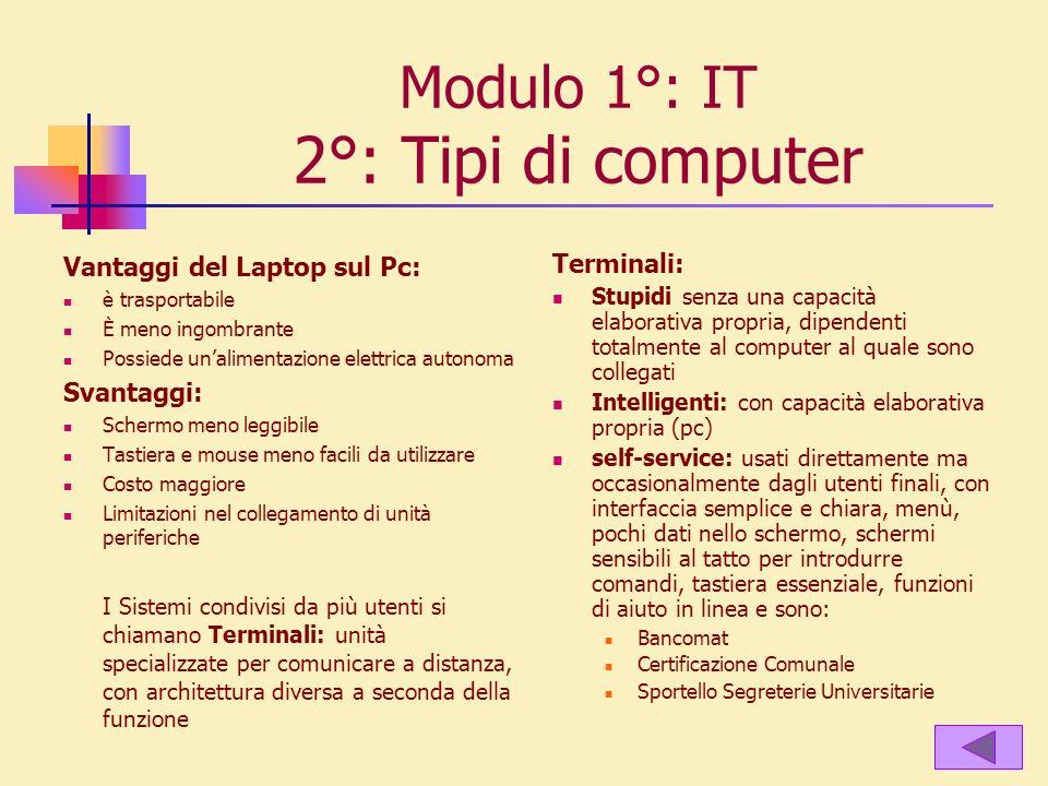 Modulo 1°: IT 2°: Tipi di computer Vantaggi del Laptop sul Pc: è trasportabile È meno ingombrante Possiede unalimentazione elettrica autonoma Svantagg