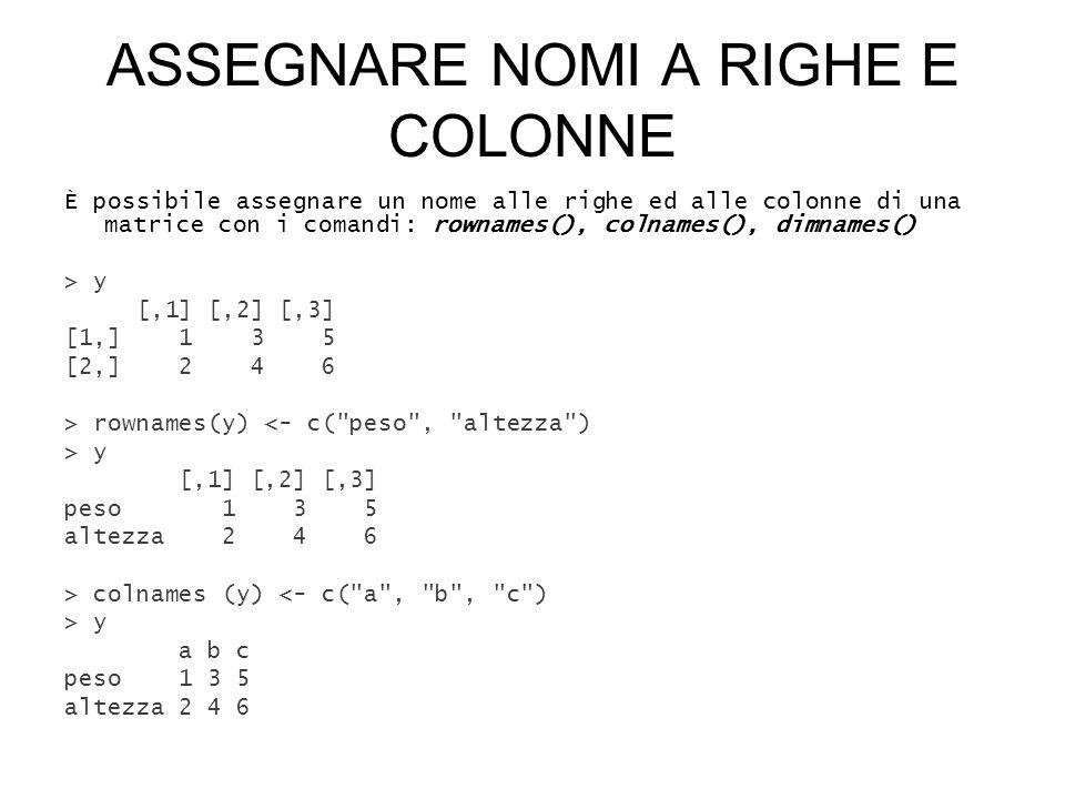 ASSEGNARE NOMI A RIGHE E COLONNE È possibile assegnare un nome alle righe ed alle colonne di una matrice con i comandi: rownames(), colnames(), dimnames() > y [,1] [,2] [,3] [1,] 1 3 5 [2,] 2 4 6 > rownames(y) <- c( peso , altezza ) > y [,1] [,2] [,3] peso 1 3 5 altezza 2 4 6 > colnames (y) <- c( a , b , c ) > y a b c peso 1 3 5 altezza 2 4 6