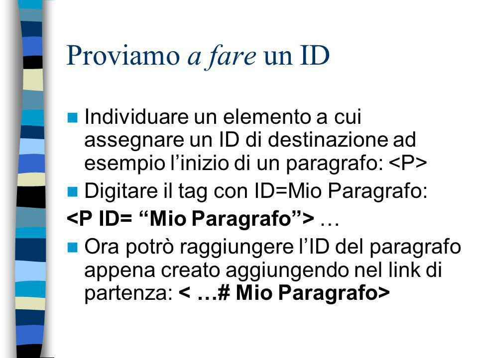 Proviamo a fare un ID Individuare un elemento a cui assegnare un ID di destinazione ad esempio linizio di un paragrafo: Digitare il tag con ID=Mio Paragrafo: … Ora potrò raggiungere lID del paragrafo appena creato aggiungendo nel link di partenza: