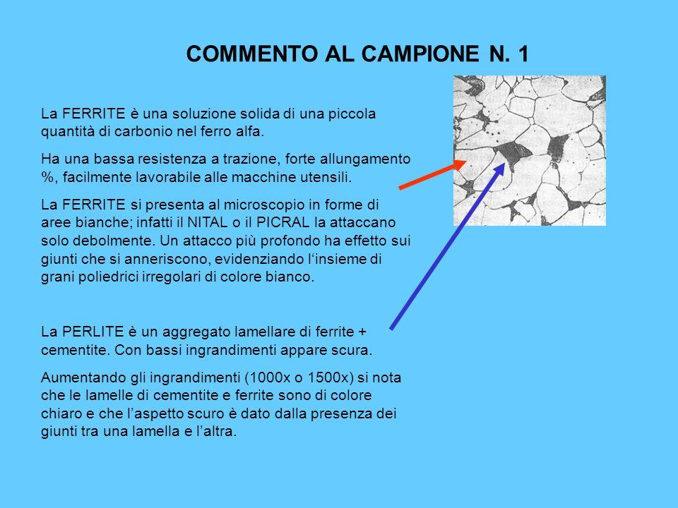 COMMENTO AL CAMPIONE N. 1 La FERRITE è una soluzione solida di una piccola quantità di carbonio nel ferro alfa. Ha una bassa resistenza a trazione, fo