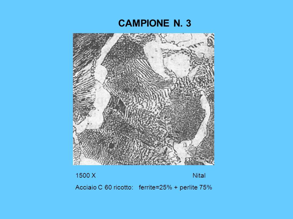 CAMPIONE N. 3 1500 XNital Acciaio C 60 ricotto: ferrite=25% + perlite 75%