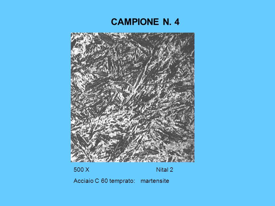 COMMENTO AL CAMPIONE N.5 La MARTENSITE è una soluzione sovrassatura di carbonio nel ferro alfa.
