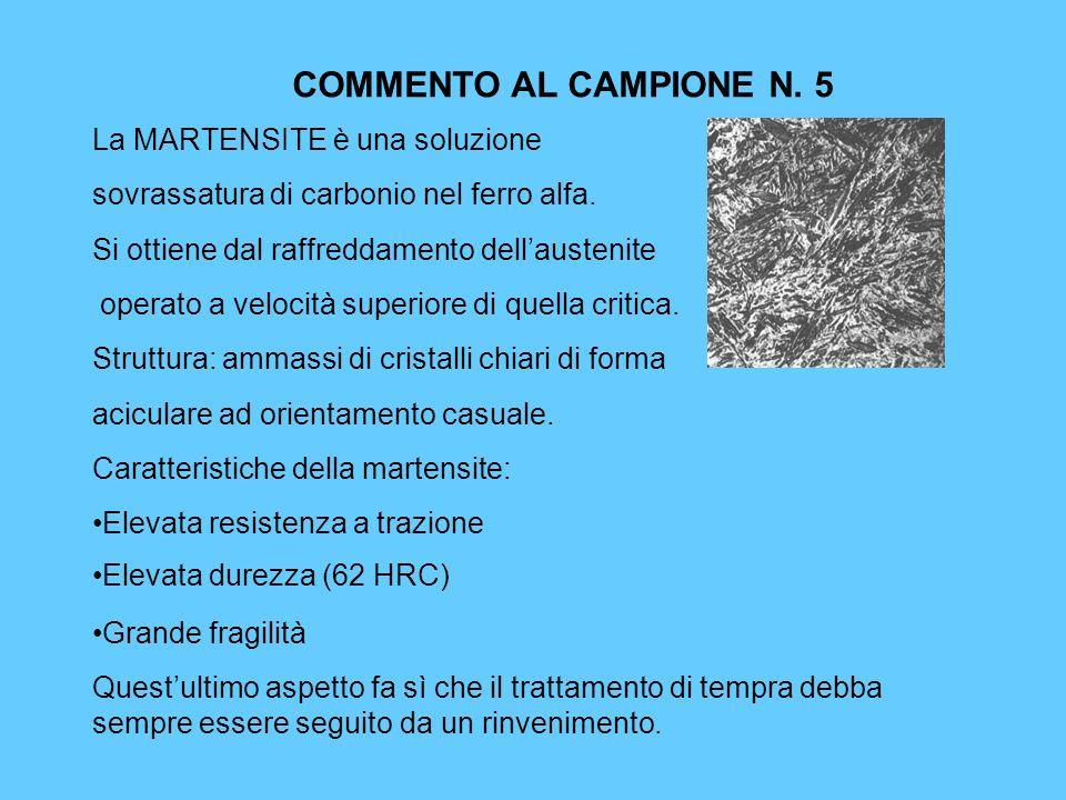 COMMENTO AL CAMPIONE N. 5 La MARTENSITE è una soluzione sovrassatura di carbonio nel ferro alfa. Si ottiene dal raffreddamento dellaustenite operato a
